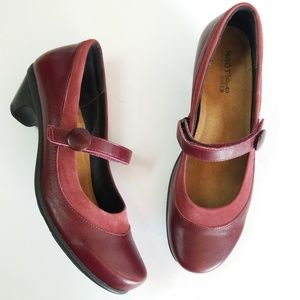 Naot burgandy red leather Mary Janes shoes